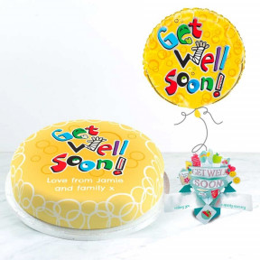 Get Well Soon Balloon Gift Set (Small Cake Set (M) Serves 10 )