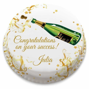 Champagne Congratulations Cake (Small Party Cake (Serves 10-12))