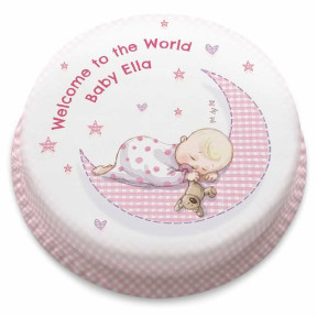 Baby Girl Moon Cake - Cancelled (Small Party Cake (Serves 10-12) )