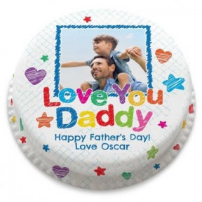 Love You Daddy Photo Cake (Small Party Cake (Serves 10-12) )