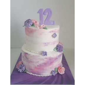 Purple 'N Pink 2 Tier Cake (Six inch on Eight inch )