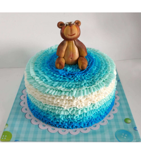 Teddy Bear Ruffle Cake (Eight inch )
