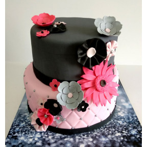 Flower Bat Mitzvah Cake (Six inch on Eight inch )