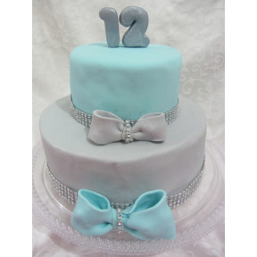 Silver Elegance Cake (Six inch on Eight inch )