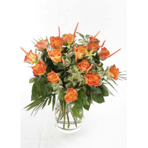 Bouquet of 15 orange Roses (19 Roses)