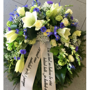 Wreath with blue Irises, white Roses and Lilys