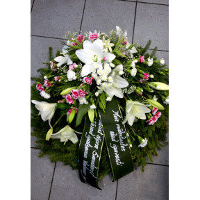 Wreath with White Lilys and Pink Spray Carnations