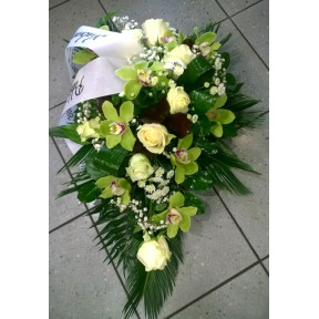 Funeral arrangement: white roses and orchids