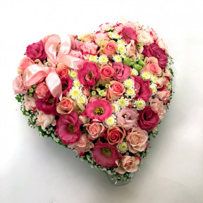 Heart-shepad arrangement of pink and white colors