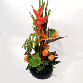 Tall arrangement of exotic flowers