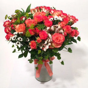 Only You- pink and orange roses and spray roses (Premium)