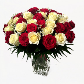 Big bouquet of red and white roses (Classic)