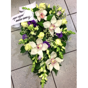 Funeral arrangement - white orchids, roses, violet chives