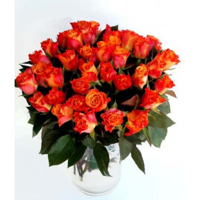 Bamboo with orange roses (20 Roses)