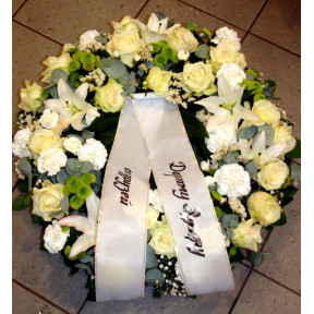 Wreath: Big white roses, Carnations, Chrysantemums, Lilys-2