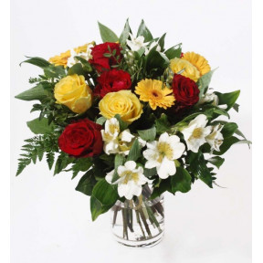 Best Wishes - red and yellow roses, gerberas and alstromeries (Classic)