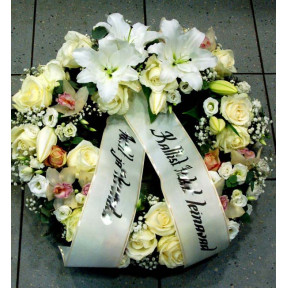 Wreath with white and creamy flowers: Lilys, Roses, Orchids-1