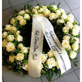 Wreath with white roses