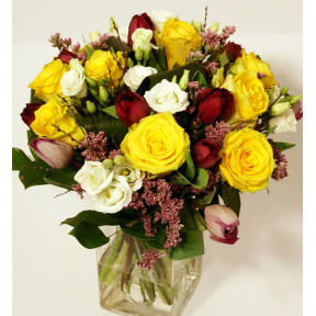 Bouquet of different yellow and purple flowers (Classic)