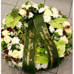 Wreath with white and creamy flowers: Lilys, Roses, Orchids
