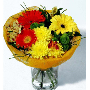 Bouquet of Gerberas, Minigerber and Chrysantemums wrapped in fabric (Classic)