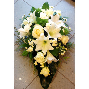 Funeral arrangement- white lilys and roses