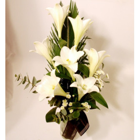 Handtied bouquet of white lilies