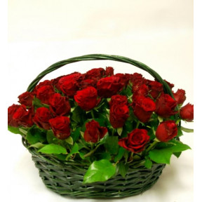 Flower basket 50 with medium red rose