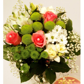 Bouquet of pink roses, white fresias and chrysantemums (Classic)