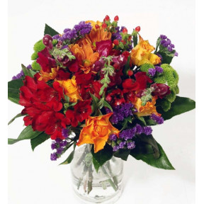 Bouquet in red, orange and blue colors (Classic)
