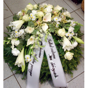 Wreath: Callas, Lilys, Roses, Orchids etc