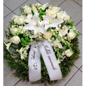 Wreath: white and green Lilys, Roses, Callas, etc.