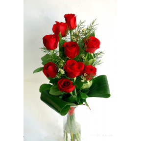 A step bouquet with red roses and additions (9 Roses)