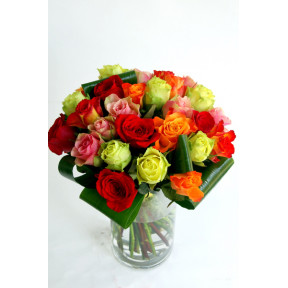 Bouquet of multi-colored roses (19 Roses)