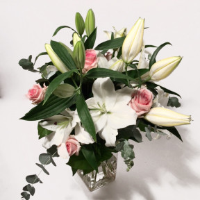 Bouquet of white lilies and pink roses (Classic)