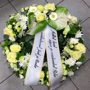 Wreath: Big white roses, Carnations, Chrysantemums, Lilys