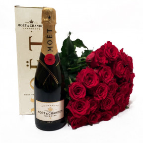 Luxorious Gift- Make Champagne and Red Roses (11 Roses)