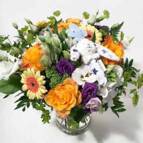 Bouquet for Baby Boy with Toy Rabbit (Premium)