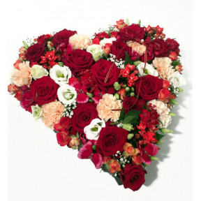 Heart-shepad arrangement of red, cream and white colors
