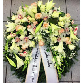 Large wreath: white lilys, creamy roses, orchids-1
