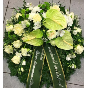 Large wreath: white lilys, creamy roses, orchids