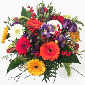 Rainbow- multicolored gerberas, tulips, irises (Classic)
