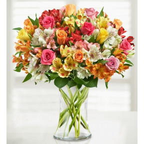 Assorted Roses & Peruvian Lilies (Bouquet Only)