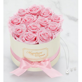 Magnificent Roses® Preserved Pearl Roses And Swarovski Gift Set (One Dozen Pink Pearl Roses)