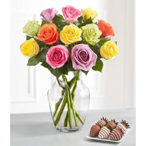 Deliciously Decadent™ Multicolored Roses & Strawberries (12 Multi Roses w/clear vase & 12 drizzled strawberries)