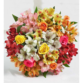 Assorted Roses & Peruvian Lily Bouquet For Mom (Bouquet Only)