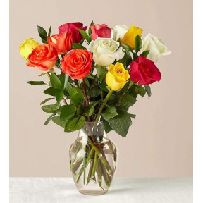 Mixed Roses With Vase (12 Roses No Vase)