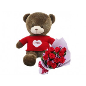 60Cm Teddy And Roses Combo (Small)
