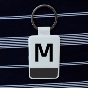 Initial White Key Ring