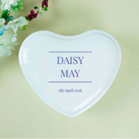 Name And Date Personalised White Heart Jewellery Box
